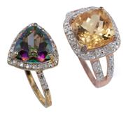 Sale 8954 - Lot 301 - TWO SILVER GILT QUARTZ AND DIAMOND RINGS; one with a cushion cut citrine of approx. 4.34ct, the other a trilliant cut mystic quartz...