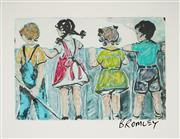 Sale 8959A - Lot 5036 - David Bromley (1960 - ) - Kids at the Fence 36 x 54 cm (frame: 79 x 94 x 3cm)