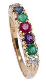 Sale 8974 - Lot 329 - A 9CT GOLD GEMSET DEAREST RING; set across the top with round cut diamond, emeralds, amethyst, ruby, sapphire and tourmaline, size O...
