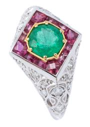 Sale 9054J - Lot 142 - A RUBY EMERALD AND DIAMOMD RING; centring a round cut emerald of approx. 0.85ct to surround of mixed cut rubies in a lozenge shape t...