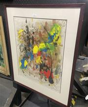 Sale 9065 - Lot 2096 - M. Maggioni Abstract, 1966, oil on rice paper, frame: 80 x 64 cm, signed and dated lower right -