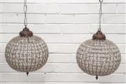 Sale 9071 - Lot 1068 - Pair of Ball Form Chandeliers (60 x 30cm)