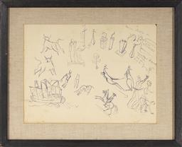 Sale 9106 - Lot 2002 - Donald Friend (1915 - 1989) Sketch Page (double sided) ink on paper (AF - tears and creases) 27 x 36.5 cm (frame: 40 x 49 x 4 cm) un...