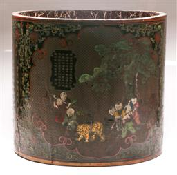 Sale 9122 - Lot 122 - A Large Chinese Lacquered Drum Container With Calligraphy Design (Height 50cm Dia 55cm)