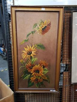 Sale 9155 - Lot 2092 - Artist Unknown (early 20th century) Sunflowers, oil on canvas frame: 80 x 45 cm, unsigned -