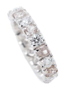 Sale 9168J - Lot 372 - A PINK AND WHITE DIAMOND ETERNITY RING; full hoop in 18ct white gold set with 10 round brilliant cut white and 9 cushion cut light p...