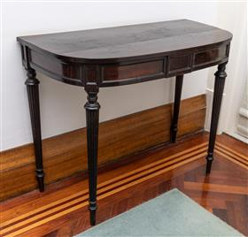Sale 9195H - Lot 3 - A mahogany veneered demi-lune console table, Height 72cm x Width 91.5cm x Depth 44cm, some damages