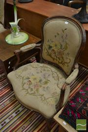 Sale 8444 - Lot 1029 - Louis XV Style & Possibly Period Armchair, with distressed floral tapestry & cabriole legs