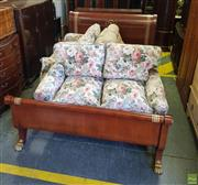 Sale 8566 - Lot 1422 - Inlaid Timber Bed Frame with Gilt & Ebonised Trim