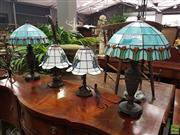 Sale 8601 - Lot 1029 - Collection of Four Leadlight Shade Table Lamps