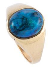 Sale 8946 - Lot 332 - A 9CT GOLD OPAL RING; rub set with 12 x 9.5mm oval cabochon solid opal, size W, wt. 4.75g.