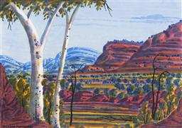 Sale 9150 - Lot 577 - RICHARD FORRESTER - MacDonnell Ranges 31 x 44 cm (frame: 55 x 65 x 4 cm)