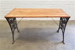 Sale 9102 - Lot 1300 - Cast iron base outdoor table with later top (h:65 x l:125 x w:72cm)