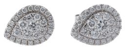 Sale 9123J - Lot 295 - A PAIR 10CT WHITE GOLD DIAMOND CLUSTER STUD EARRINGS; each of pear shape set with 29 round brilliant cut lab grown diamonds, E/F - V...