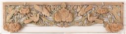 Sale 9164H - Lot 6 - A mid 20th century carved decorative panel depicting birds on a branch. Length 140cm