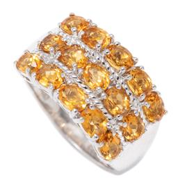 Sale 9177 - Lot 316 - A SILVER CITRINE RING; 11.6mm wide ring set with 15 oval cut citrines, size P1/2, wt. 4.73g.