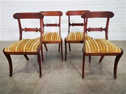 Sale 9196 - Lot 1091 - Set of Four Regency Style Mahogany Chairs, the rail backs with leaf carved caps, with striped gold velvet drop-in seats, raised on s...