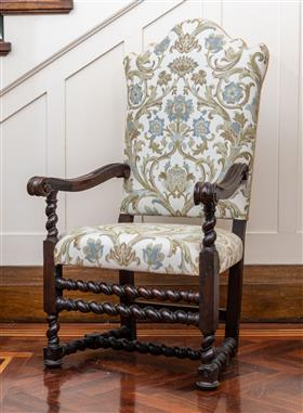 Sale 9195H - Lot 4 - A single oak framed Gainsborough armchair upholstered in acanthus patterned fabric, Height 124.5cm x Width 70cm x Depth 60cm