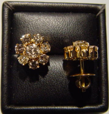 Sale 3554 - Lot 74 - A PAIR OF DIAMOND CLUSTER EARRINGS;