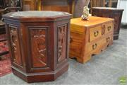 Sale 8326 - Lot 1438 - Pair of Oriental Octagonal Side Tables with Glass Insert Top