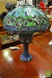Sale 8489 - Lot 1037 - Cast Metal Base Table Lamp with Leadlight Shade