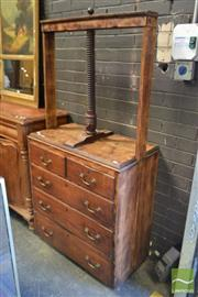Sale 8520 - Lot 1041 - Late Georgian Oak Book Press on Chest, with timber screw & five drawers (missing bracket feet, other minor losses)