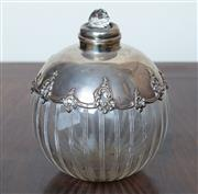 Sale 8800 - Lot 139 - A hallmarked sterling silver and crystal scent jar with stopper, H 11cm, Birmingham