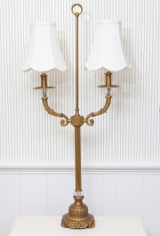 Sale 8677B - Lot 862 - A pair of candelabra style metal and glass bedside lamps with cream shades, height 95cm