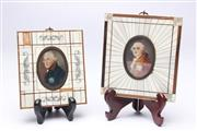 Sale 8694 - Lot 85 - C20th Miniatures (2) of Louis XVI and Frederick the Great in Piano Key Frames (Small losses to one frame)