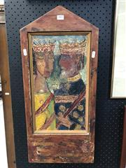 Sale 8803 - Lot 2002 - Anton Murre - King and Queen oil on etched copper, 67 x 30cm (custom made frame)