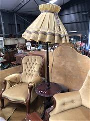 Sale 8817 - Lot 1059 - Carved Timber Floor Lamp with Large Fabric Shade