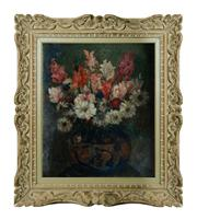 Sale 8828A - Lot 14 - French Impressionist antique still life of flowers in French washed frame unsigned. Oil on canvas 55 x 46 cm