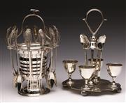 Sale 9078 - Lot 20 - A Scandinavian Set Of 825 Silver Filigree Spoons On Plated Stand Together With Another Plated Example