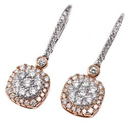Sale 9123J - Lot 296 - A PAIR 14CT WHITE GOLD DIAMOND CLUSTER EARRINGS each a rose gold plated cushion shape cluster centring 13 round brillian cut diamond...