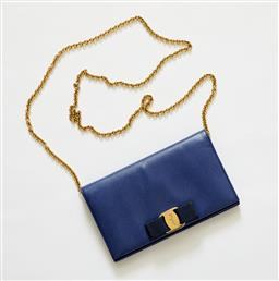 Sale 9095F - Lot 41 - A Ferragamo blue leather purse with gold chain, 7 card holder, width 19cm.