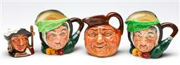 Sale 9255S - Lot 56 - A collection of 4 Royal Doulton small toby jugs inc Aramis H 7cm, Sairey Gamp (2) H 8cm and another