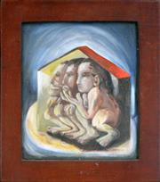 Sale 8309A - Lot 95 - Liz Bassett (XX) - 3 People in a House, 1993 30.5 x 26.5cm