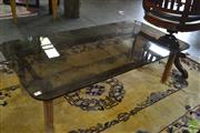 Sale 8338 - Lot 1185 - Timber Coffee Table With Smokey Glass Top