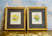 Sale 8577 - Lot 45 - A vintage pair of Susan F Leister gilded framed watercolour floral artworks - Condition: Excellent - Measurements: 18cm wide x 21c...