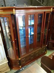 Sale 8566 - Lot 1423 - Large Inlaid Timber Display Wall Unit with Six Glass Panel Doors, Ebonised Gilt Trim (220 x 45 x 222)
