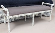 Sale 8677B - Lot 863 - A French white painted and upholstered, carved window seat, H x 51cm, W x 123cm, D x 46cm