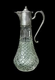 Sale 8828A - Lot 15 - Antique French metal and glass ewer. 30 cm
