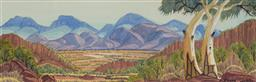 Sale 9170 - Lot 534 - KEVIN WIRRI (1953 - ) Ghost Gums, MacDonnell Ranges watercolour 17 x 53 cm (frame: 42 x 75 x 3 cm) signed lower right