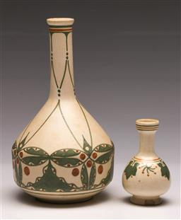 Sale 9138 - Lot 93 - A De Distel (Amsterdam) Potted Vessels by Bert Nienhuis, (Heights 21cm and Height 10cm)