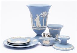 Sale 9170H - Lot 78 - A quantity of Wedgwood jasperwares including a trumpet vase, small chip to base, Height 18.5cm