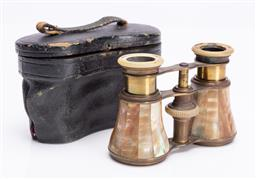 Sale 9185E - Lot 114 - A mother of pearl bound binoculars in case