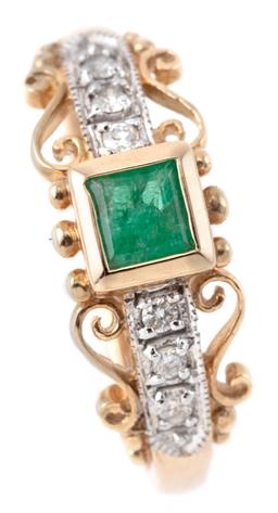Sale 9221 - Lot 365 - A 9CT GOLD EMERALD AND DIAMOND RING; rub set with a square cut emerald between shoulders each set with 3 round brilliant cut diamond...