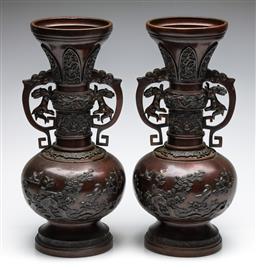 Sale 9255S - Lot 57 - A pair of C19th bronze twin dragon handle vases Height 39.5cm