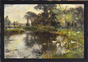 Sale 8301 - Lot 589 - Alexander Wellwood Rattray (1849 - 1902) - Ducks on a River 23 x 34.5cm