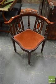 Sale 8500 - Lot 1073 - Late Victorian Mahogany Inlaid Corner Chair with Upholstered Seat and Tapering Legs